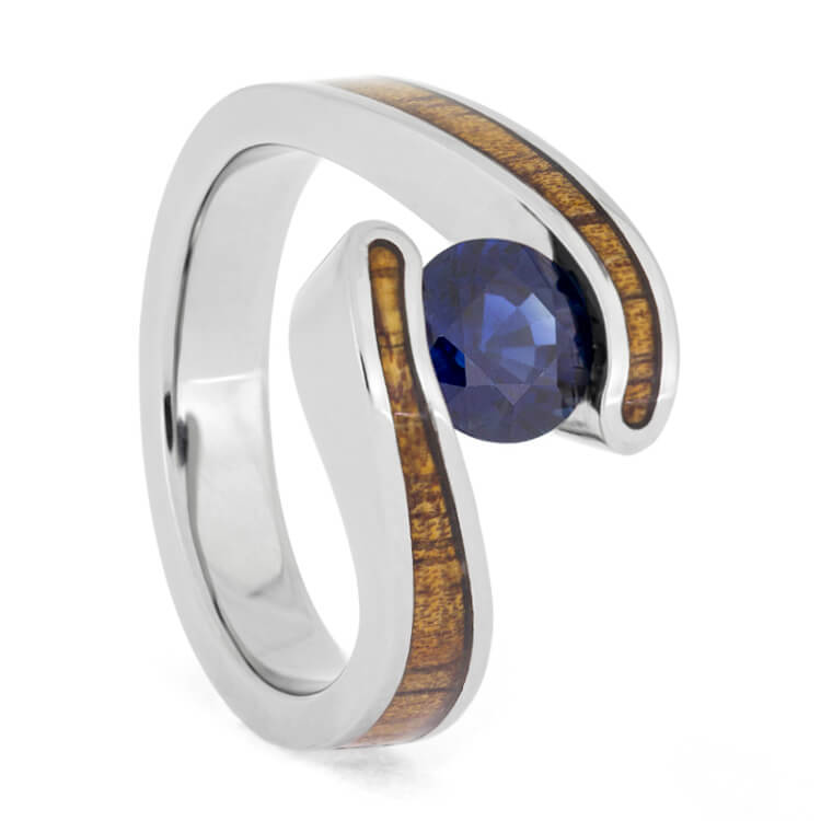 Koa Wood Engagement Ring, Sapphire In Tension Setting, Titanium Ring-2663