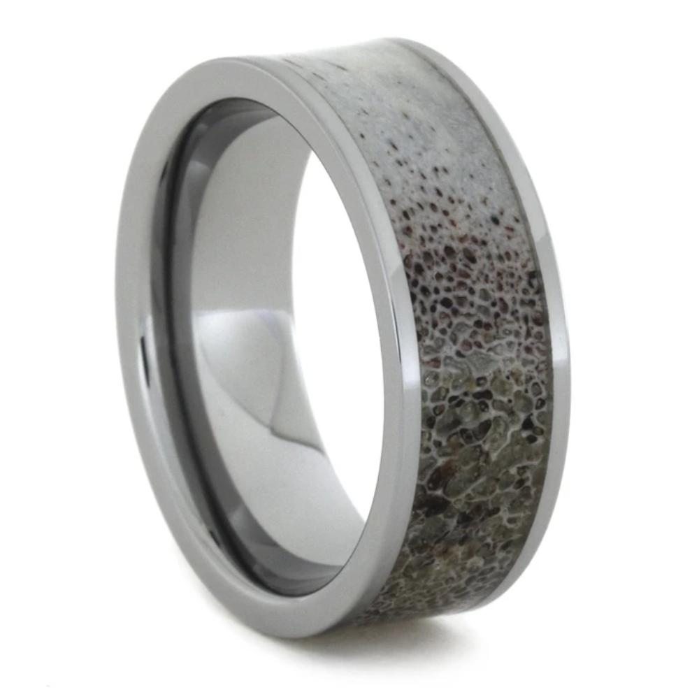 Tungsten Men's Wedding Band With Deer Antler-1808 - Jewelry by Johan