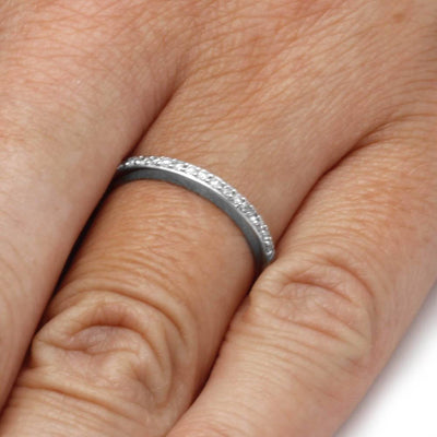 Half Eternity Diamond Wedding Band in Sterling Silver On a Hand