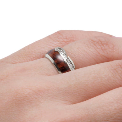 Diamond Eternity Wedding Band in White Gold, King Wood Ring-DJ1013WG - Jewelry by Johan