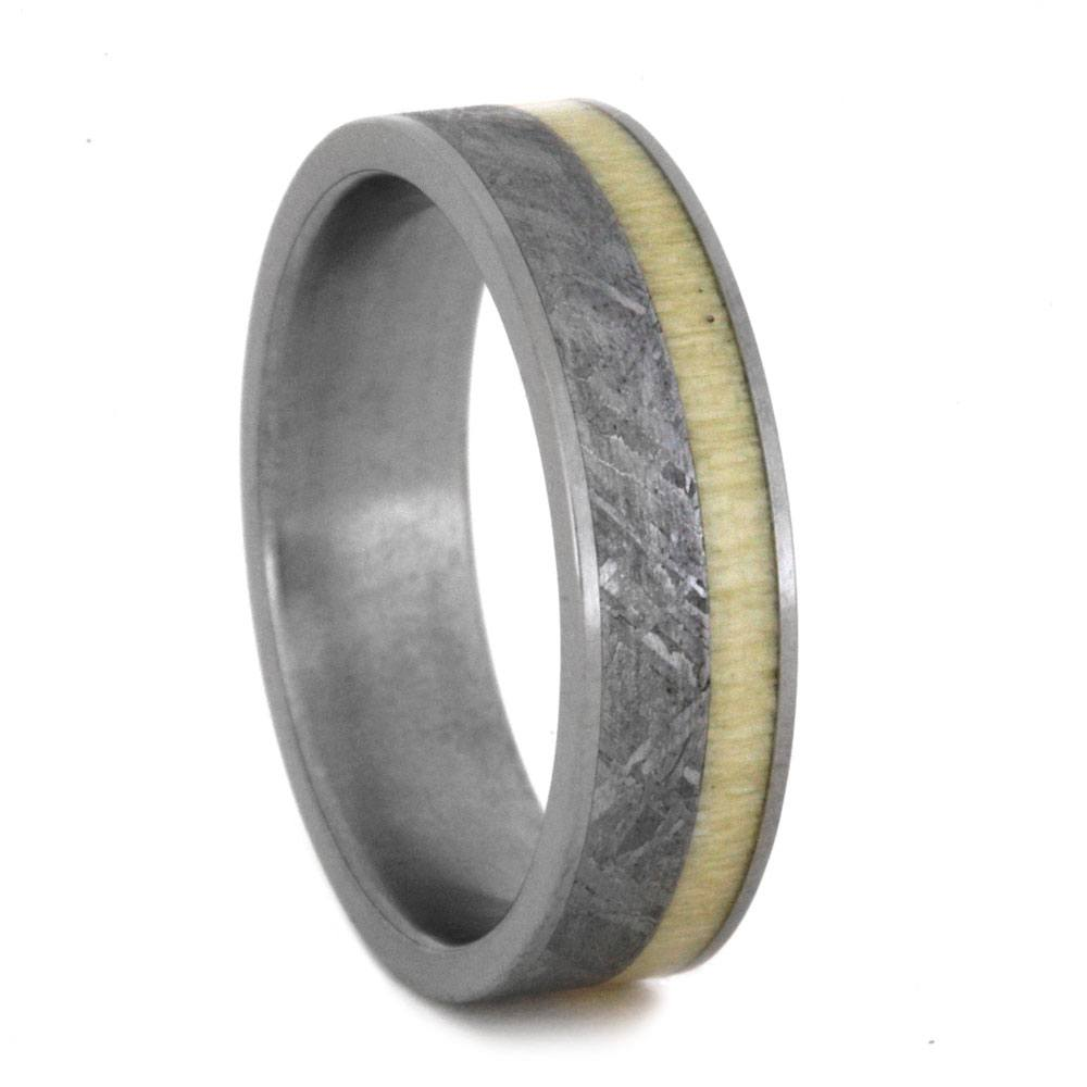 Meteorite Wedding Band With Holly Wood Inlay, Size 9-RS9007 - Jewelry by Johan
