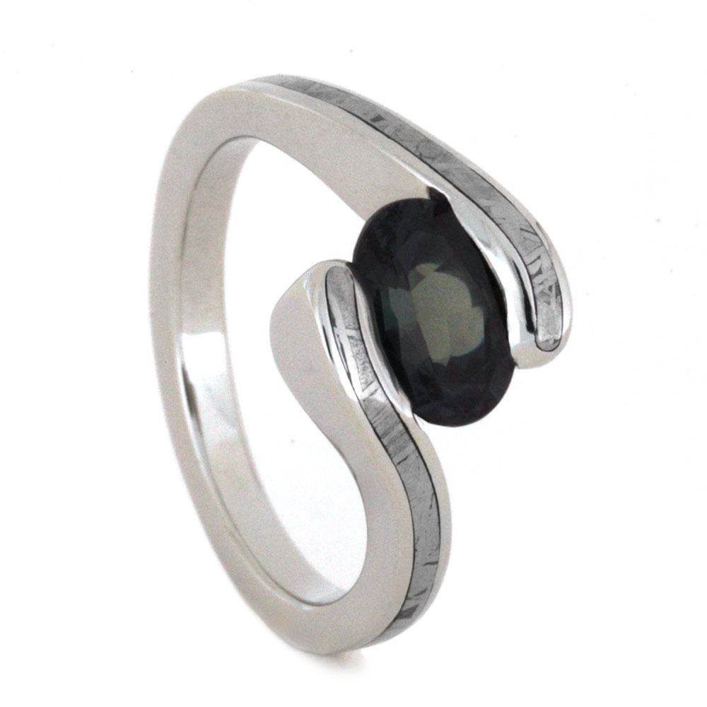 Meteorite Engagement Ring with Tension Set Oval Gemstone-3196 - Jewelry by Johan