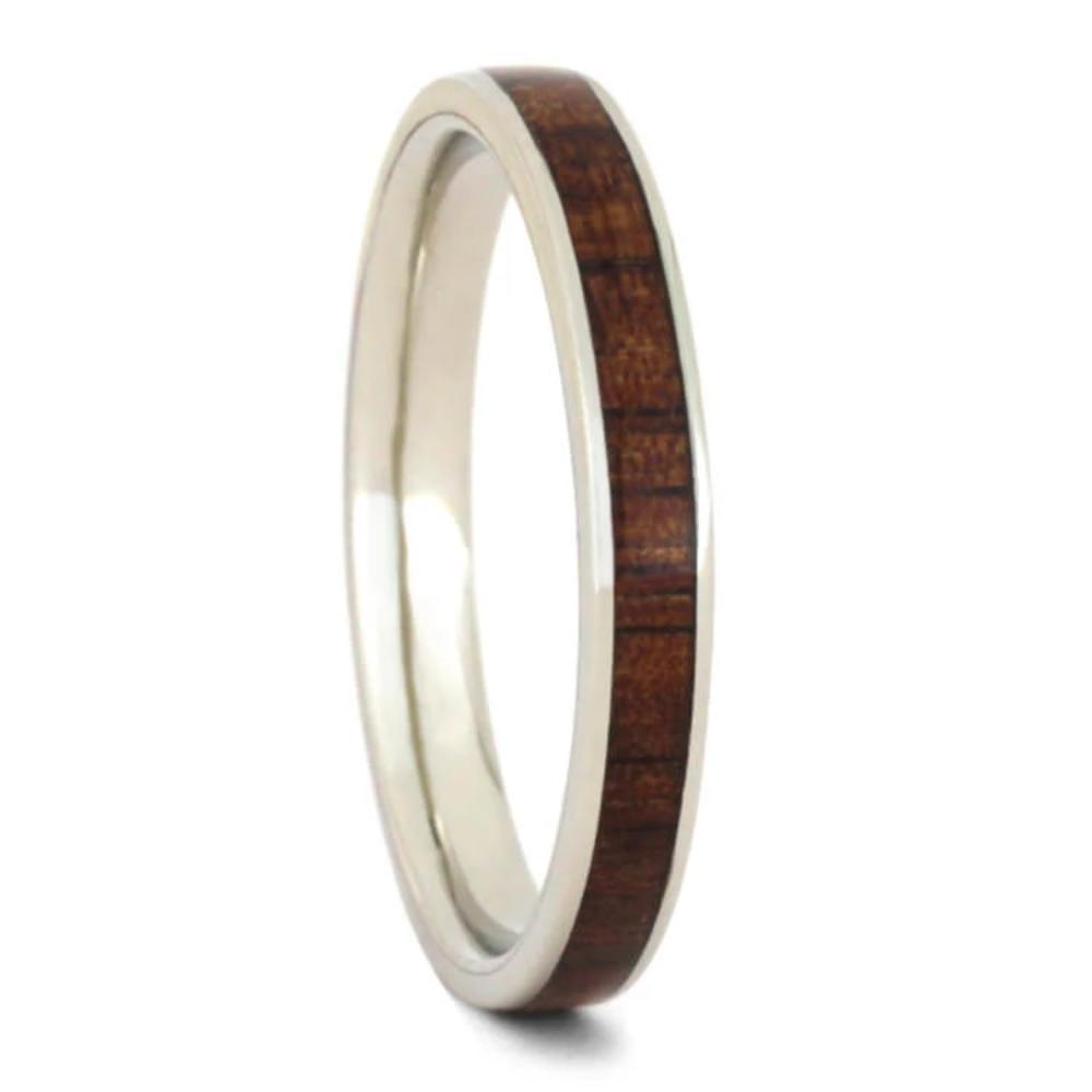 Koa Wood Wedding Band For Women, 10k White Gold-2305