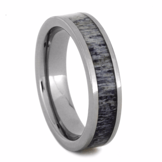Women's Wedding Band With Purple Deer Antler, Size 5-RS8807 - Jewelry by Johan