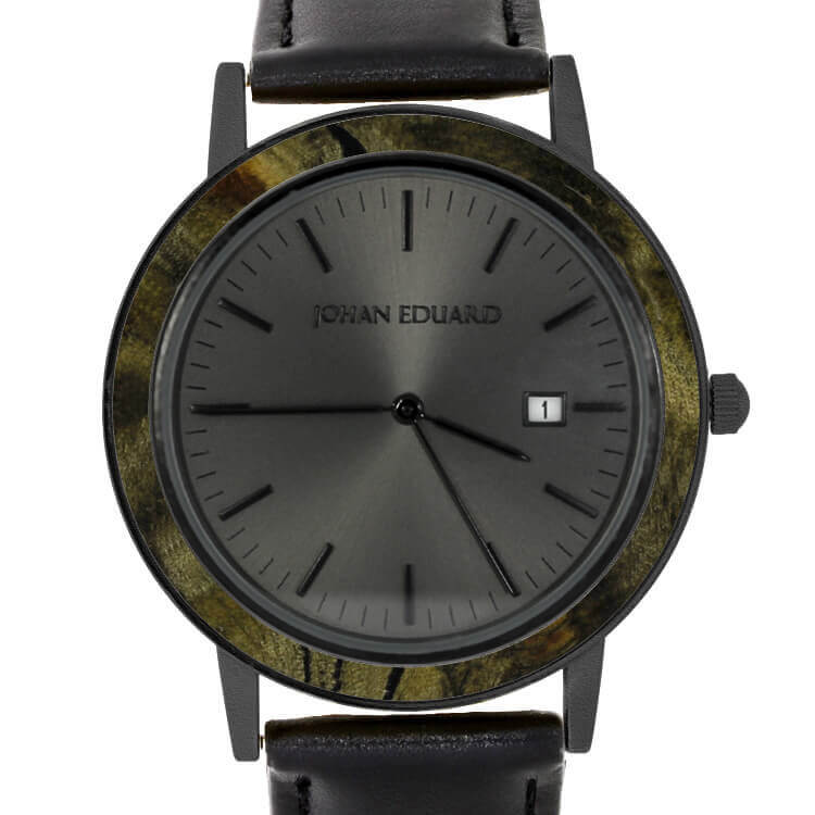 Buckeye Burl Wood Wristwatch, Matte Black Watch with Leather Strap-RS10221