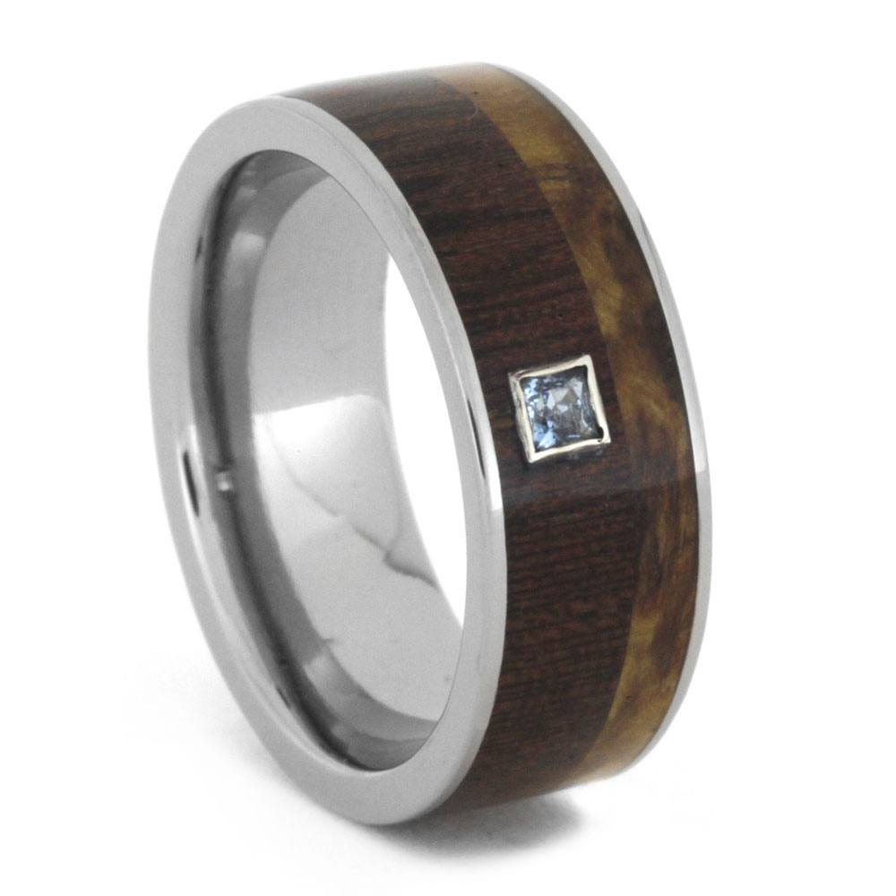 Wood Wedding Band With Aquamarine Stone