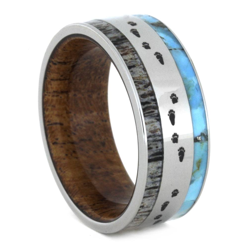Antler Ring with Turquoise, Wood And Bear Tracks Engraving-3256 - Jewelry by Johan