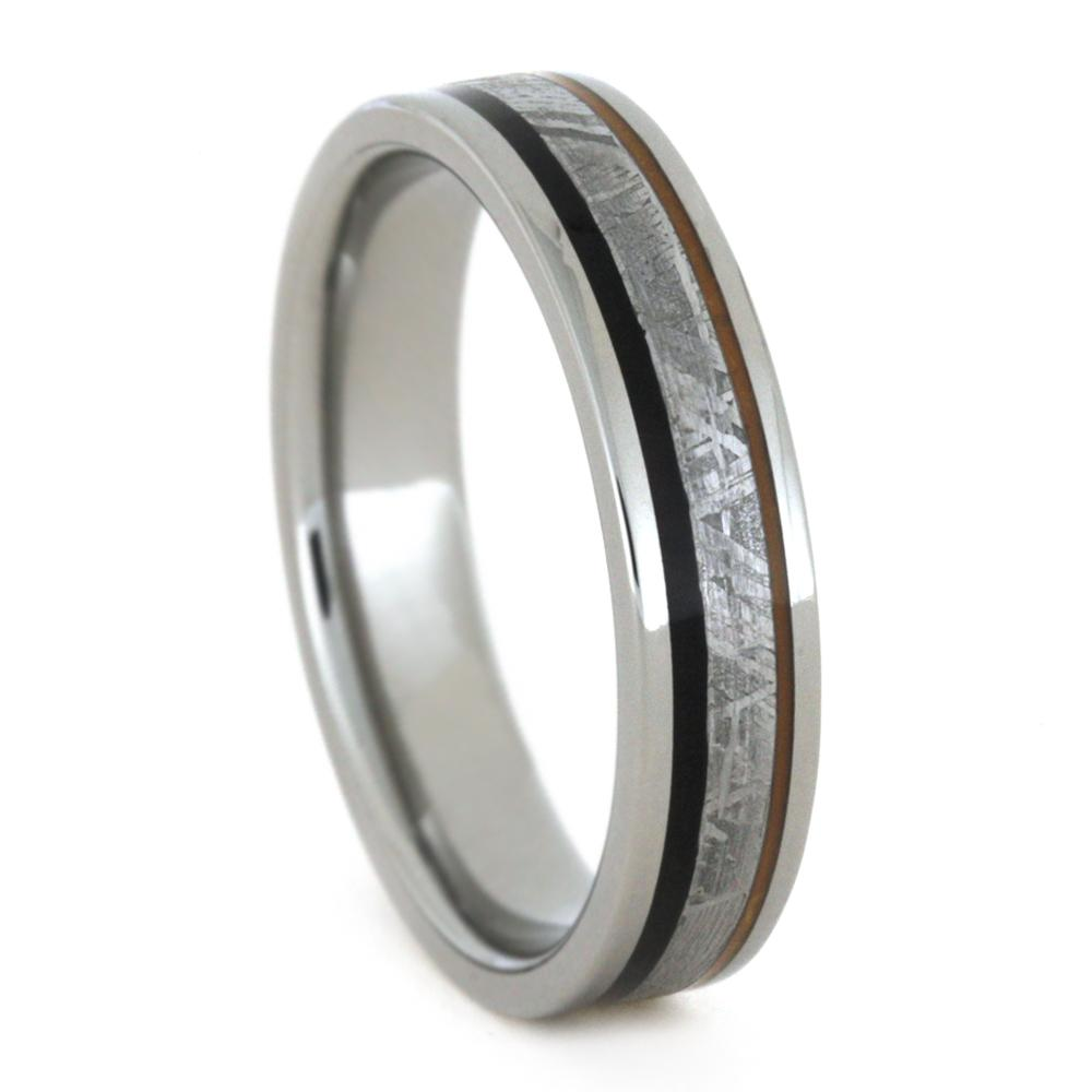 Meteorite Men's Wedding Ring with African Blackwood and Orange Enamel