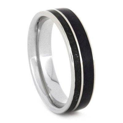 White Gold Wedding Band with Black Stardust™ and Sugilite Inlays-1821 - Jewelry by Johan