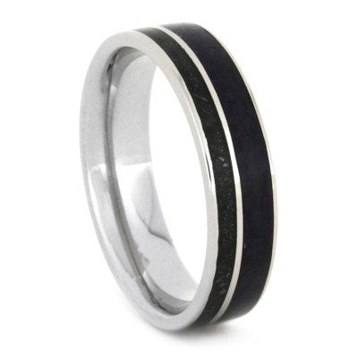 White Gold Wedding Band with Black Stardust and Sugilite Inlays