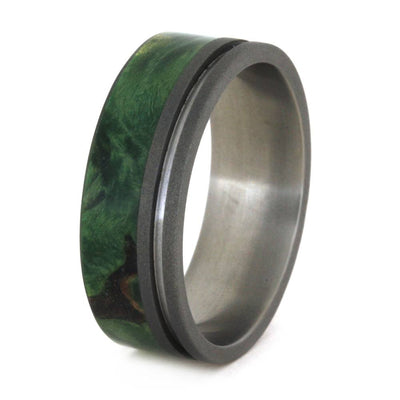 titanium wedding band with green wood