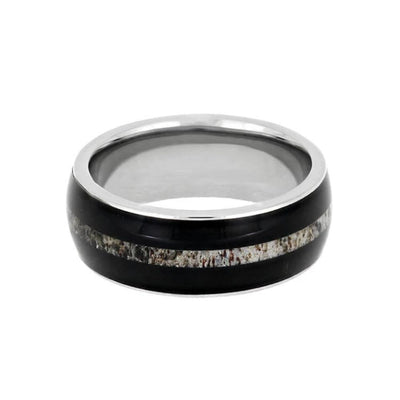 Masculine African Blackwood Ring with Antler Center Inlay-1734