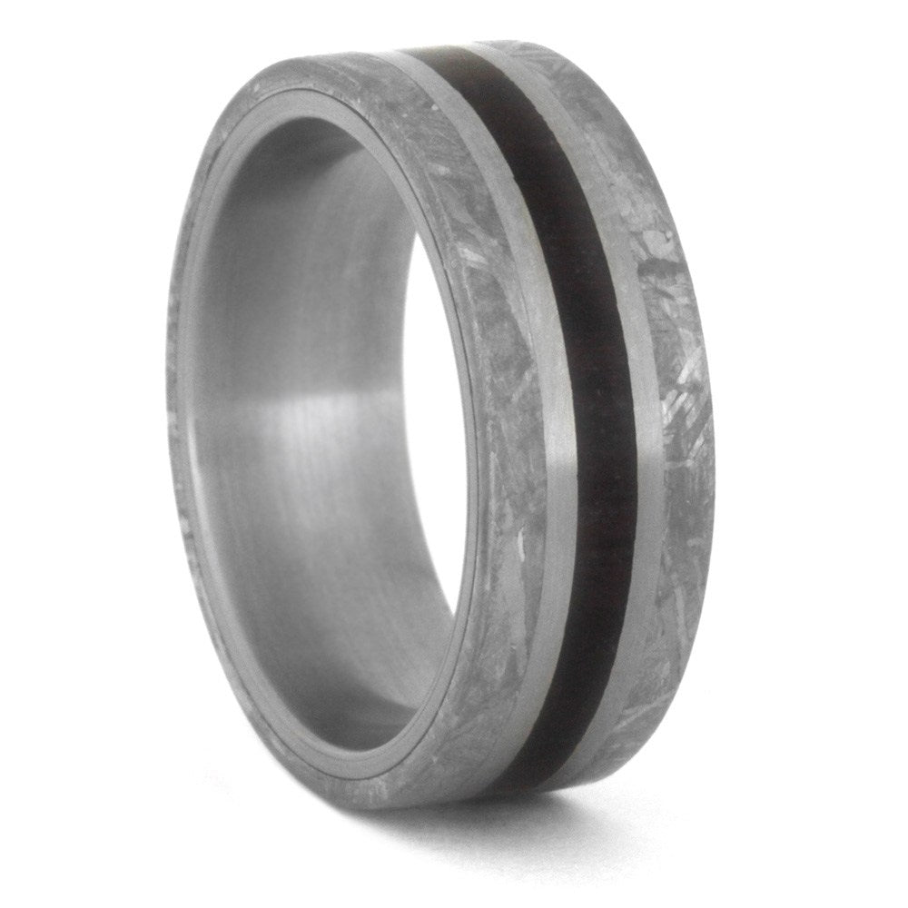Meteorite Stone Wedding Band, Petrified Wood Ring In Titanium-3495 - Jewelry by Johan