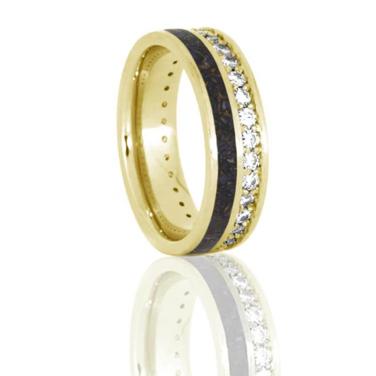 Unique Eternity Ring With Dinosaur Bone and Diamonds In Yellow Gold-DJ1023YG - Jewelry by Johan
