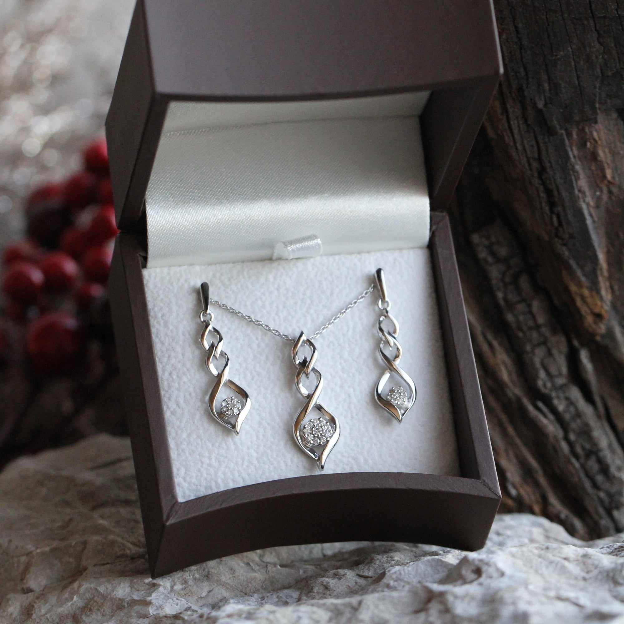 Diamond Twist Earrings and Necklace Gift Set in Sterling Silver-SHGS3007