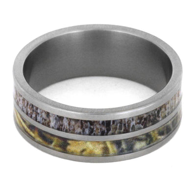 Camo Ring In Titanium Band With Deer Antler Inlay-2918 - Jewelry by Johan