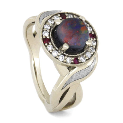 Opal Halo Engagement Ring Set With Diamond And Ruby Accents, 14K White Gold-3441