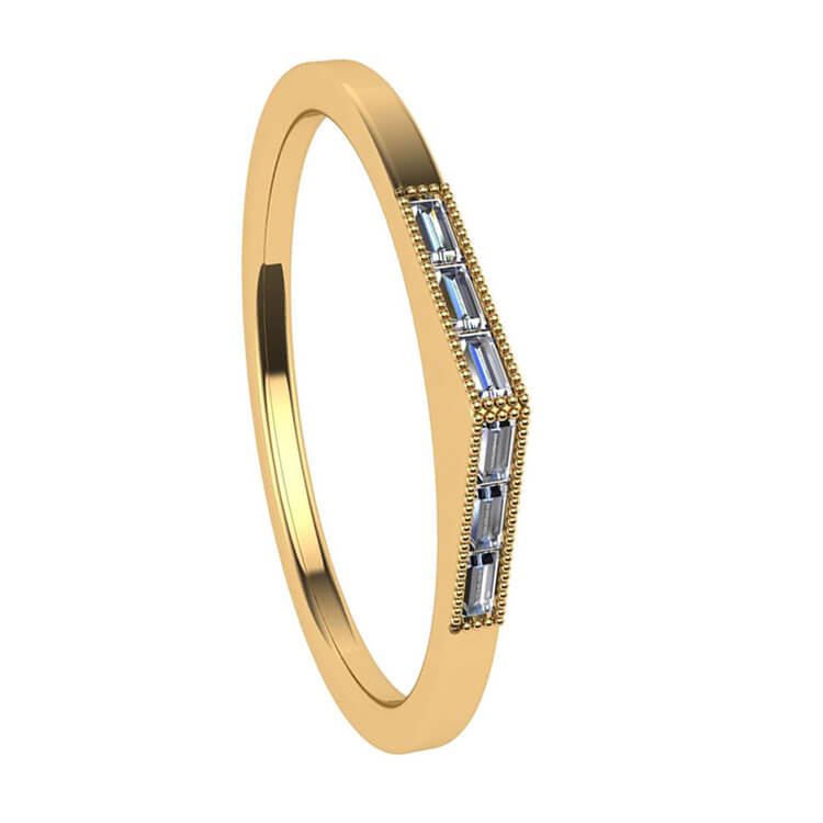 Peaked Diamond Baguette Wedding Band in Yellow Gold-3127 - Jewelry by Johan