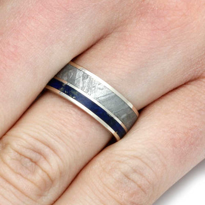 White Gold Men's Wedding Band With Meteorite And Lapis Lazuli-2793 - Jewelry by Johan