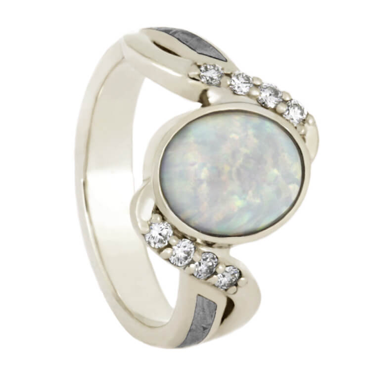 Opal Engagement Ring With Meteorite And Diamond Accents