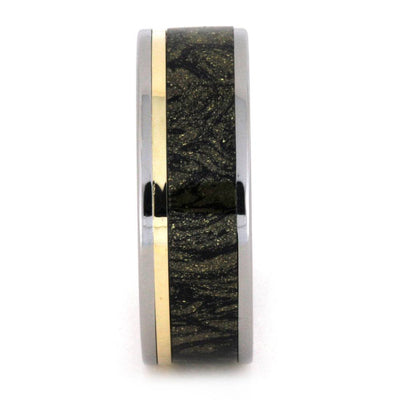 Mokume Wedding Band in Black and Gold