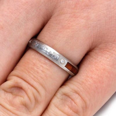 Womens Diamond Wedding Band With Snakewood And Meteorite-2988 - Jewelry by Johan