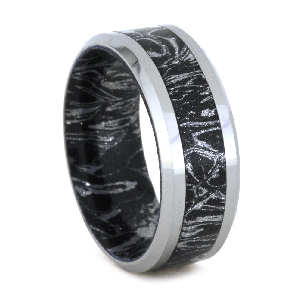 Black and White Mokume Gane Ring With Beveled Edge, Size 8-RS8837 - Jewelry by Johan