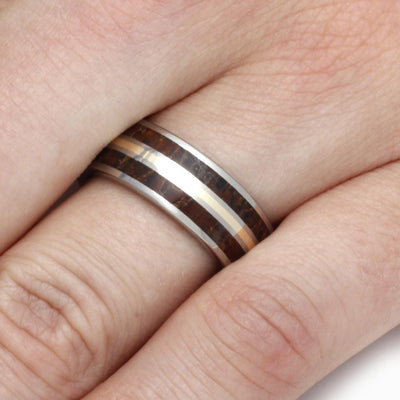 Dinosaur Bone Wedding Band with Yellow Gold Pinstripe-2777 - Jewelry by Johan