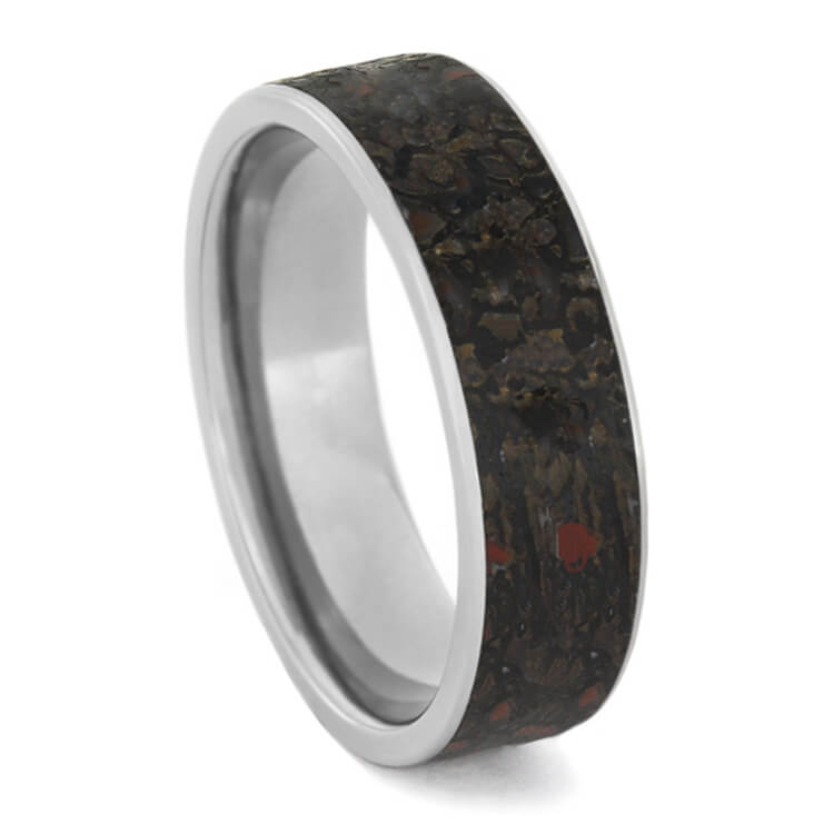 Titanium Dinosaur Bone Men's Wedding Band With Flat Profile-2433 - Jewelry by Johan