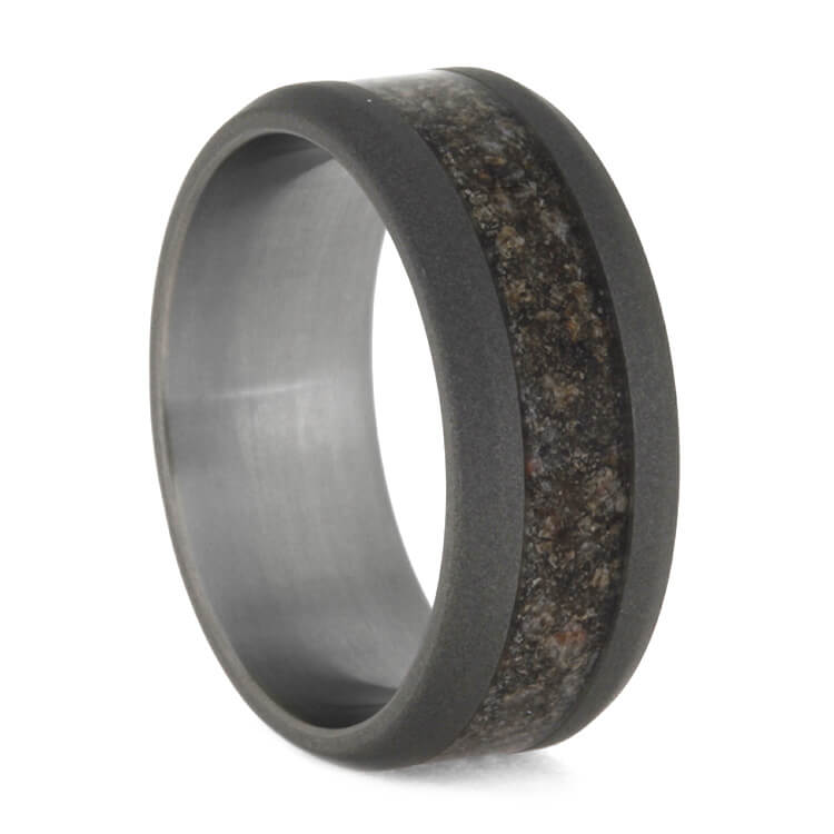 Crushed Dinosaur Bone Ring In Sandblasted Titanium, Size 8-RS10140 - Jewelry by Johan