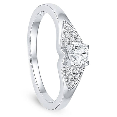Diamond Encrusted Engagement Ring in Sterling Silver