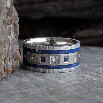 Unique Diamond & Sapphire Wedding Band With Stardust™-2355 - Jewelry by Johan