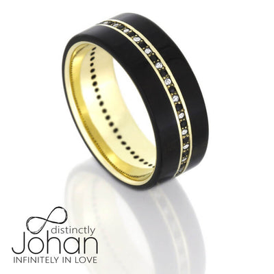 Ebony Wood Wedding Band With 14k Yellow Gold, Diamond Band-DJ1001YG - Jewelry by Johan