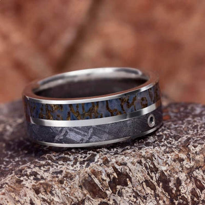 Men's Platinum Wedding Ring With Meteorite, Dinosaur Bone and Aquamarine-2330 - Jewelry by Johan