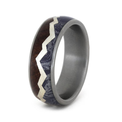 Mokume Wedding Band with Mountain Range Theme