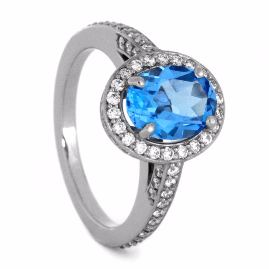 Swiss Blue Topaz Engagement Ring With Diamond Halo In White Gold-2084