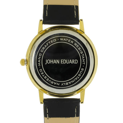 Gibeon Meteorite Watch, Golden Metal With Black Leather Strap-JE1005-4