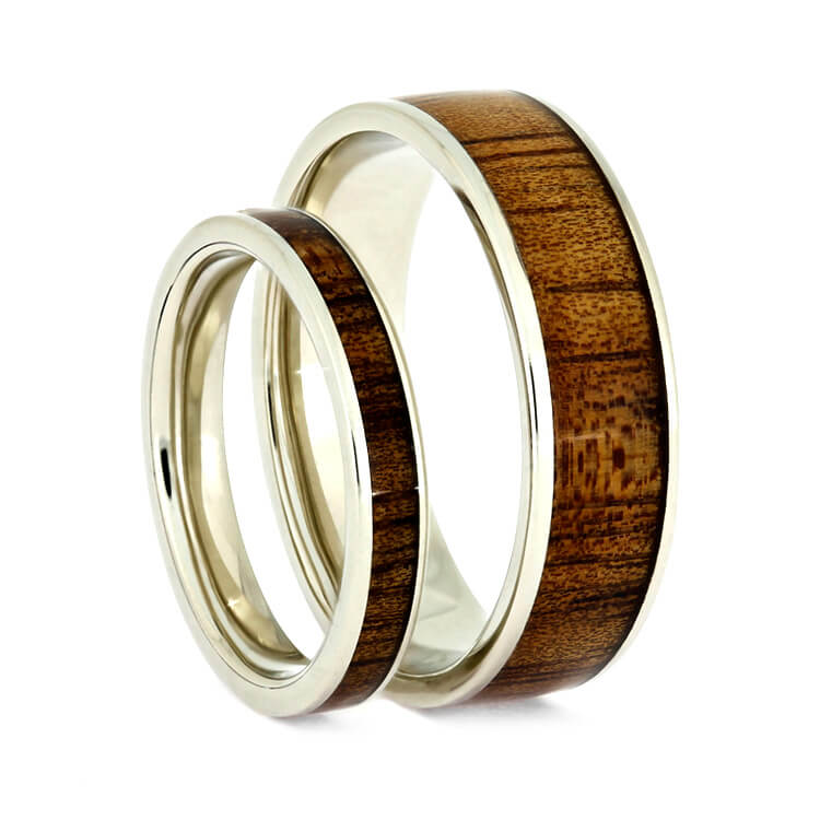 Wooden Wedding Ring Set, Koa Wood Rings, 14k White Gold Wedding Band Set-2723