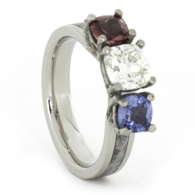 Moissanite Engagement Ring With Blue Sapphire And Garnet, Meteorite Ring