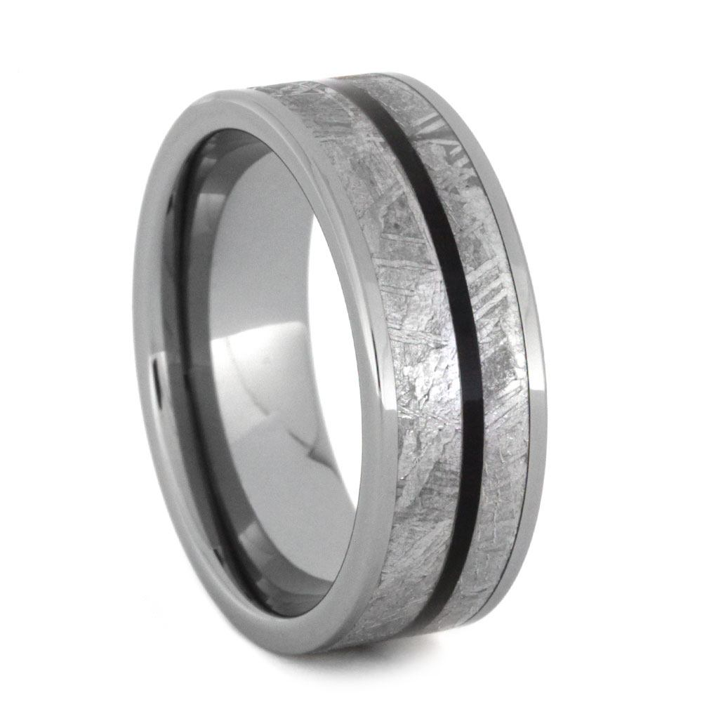 Tungsten Wedding Band With Meteorite and African Blackwood-2823 - Jewelry by Johan