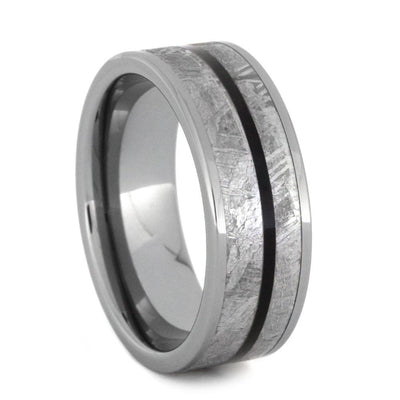 Tungsten Wedding Ring With Meteorite and African Blackwood-2823 - Jewelry by Johan