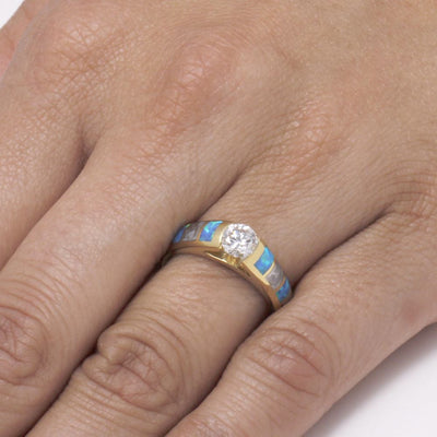 Diamond Engagement Ring, Meteorite And Opal Inlays in Yellow Gold