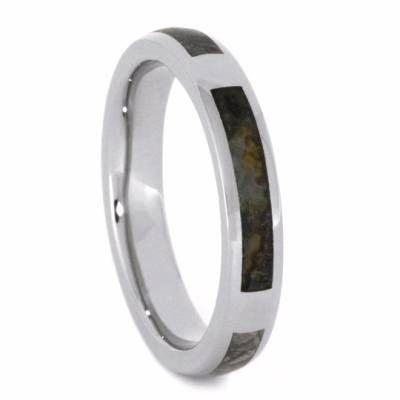 White Gold Men's Wedding Band with Meteorite and Petrified Wood