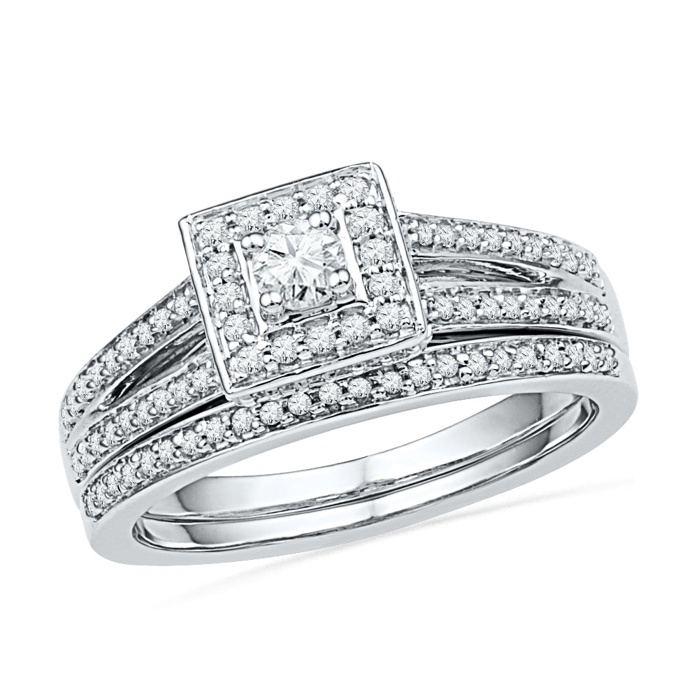 Diamond Split Shank Engagement Ring Set in Sterling Silver-SHRB018171-SS - Jewelry by Johan
