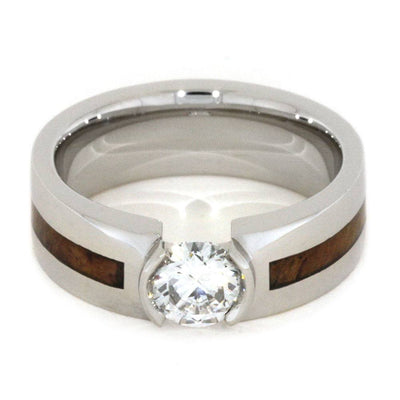 Moissanite Engagement Ring, Platinum Ring with Teak Burl-2819 - Jewelry by Johan