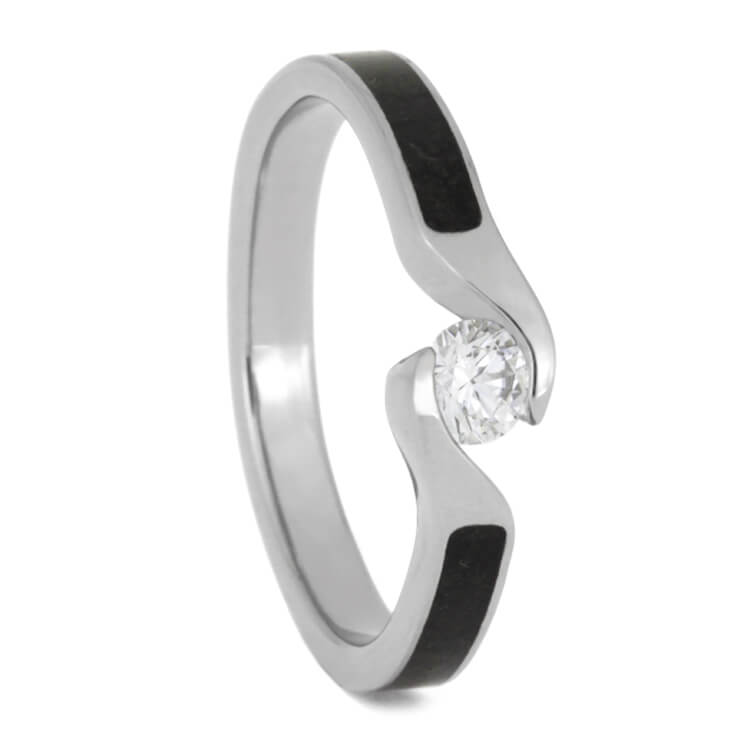 Diamond Engagement Ring in Titanium With Twist Shank-2489