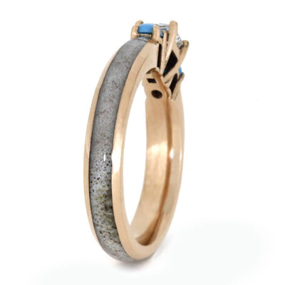 Unique Three Stone Rose Gold Engagement Ring With Antler-3367 - Jewelry by Johan