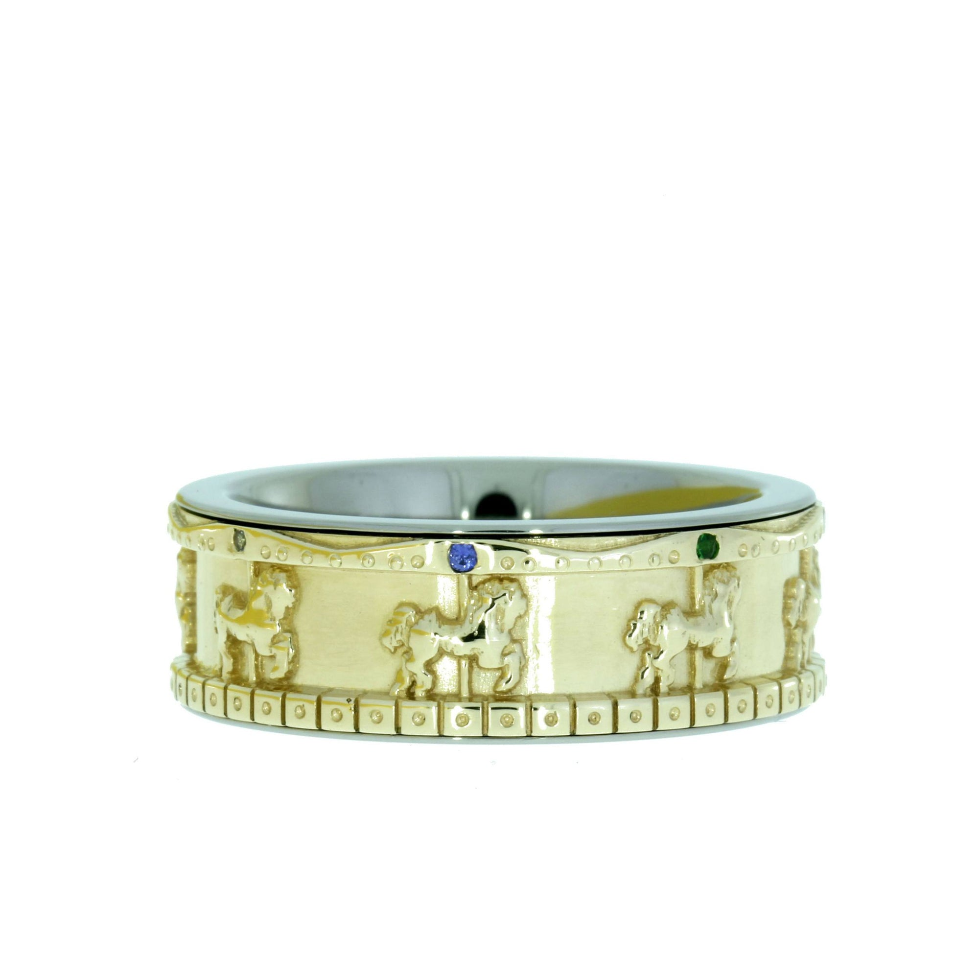 Old-Fashioned Carousel Ring, 14K Yellow Gold Merry-Go-Round Ring with Colorful Stones-1511 - Jewelry by Johan