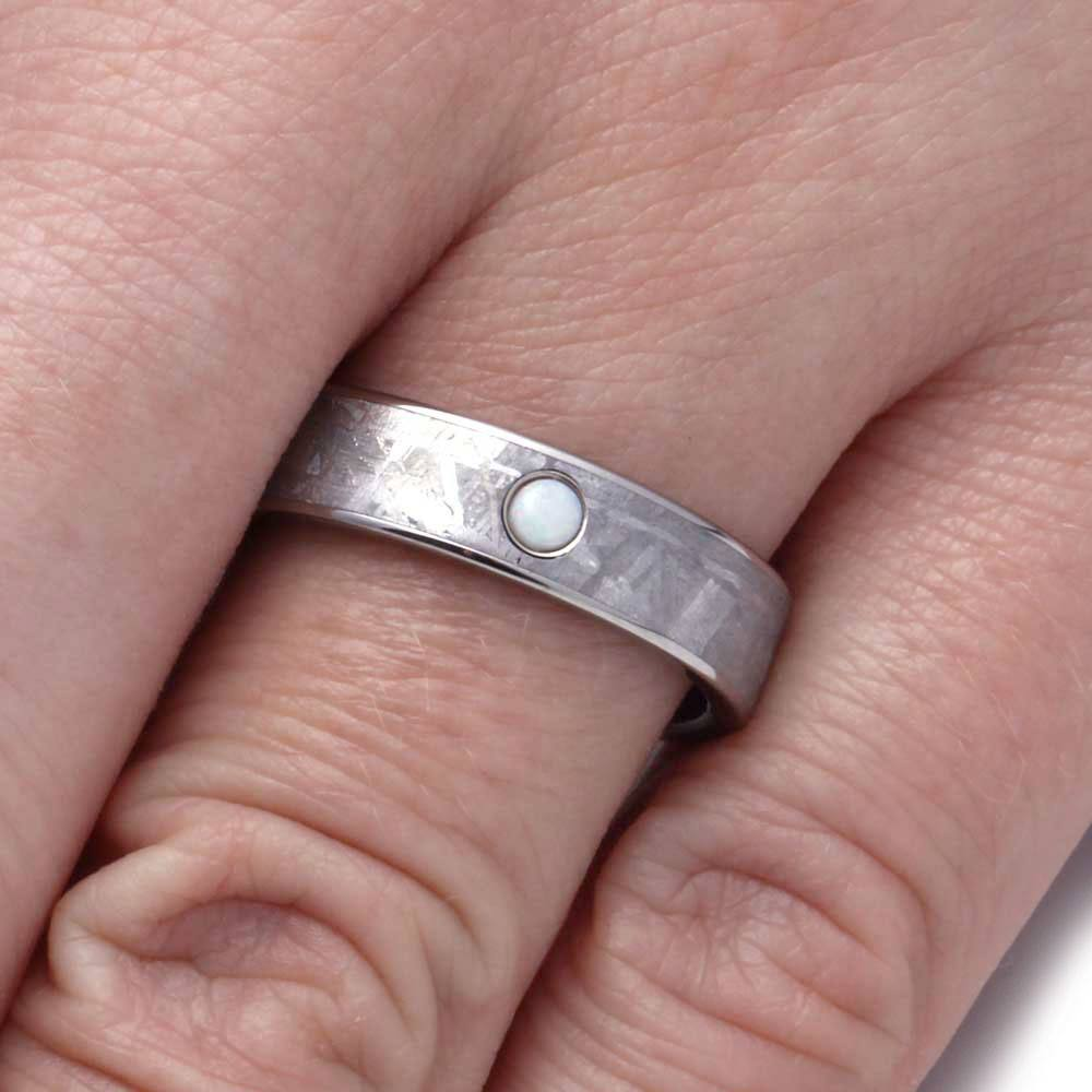 Meteorite Wedding Band in Titanium with Opal Gemstone - Jewelry by Johan
