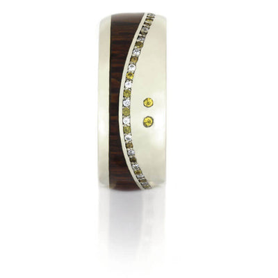 Wood Eternity Wedding Band, Gemstone Ring With 14k White Gold-DJ1017WG - Jewelry by Johan